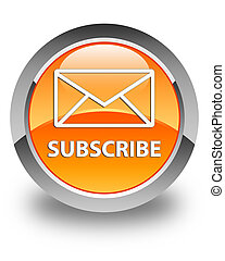 Subscribe (email icon) glossy orange round button