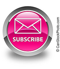 Subscribe (email icon) glossy pink round button