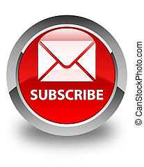 Subscribe (email icon) glossy red round button