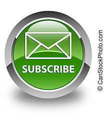 Subscribe (email icon) glossy soft green round button