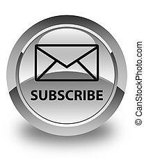 Subscribe (email icon) glossy white round button