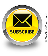 Subscribe (email icon) glossy yellow round button