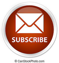 Subscribe (email icon) premium brown round button