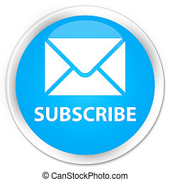 Subscribe (email icon) premium cyan blue round button