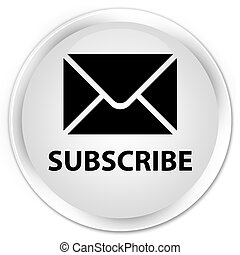 Subscribe (email icon) premium white round button