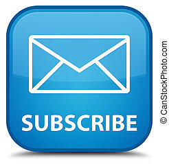 Subscribe (email icon) special cyan blue square button