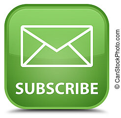 Subscribe (email icon) special soft green square button