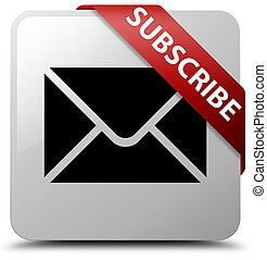 Subscribe (email icon) white square button red ribbon in corner