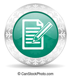 subscribe green icon, christmas button, write sign
