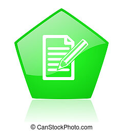 subscribe green pentagon web glossy icon