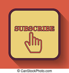 Subscribe icon, colored website button on orange background.