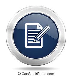 subscribe icon, dark blue round metallic internet button, web and mobile app illustration