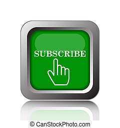 Subscribe icon. Internet button on black background.