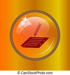 Subscribe icon. Internet button on colored background.