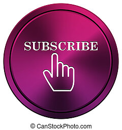 Subscribe icon - Metallic icon with white design on mauve...