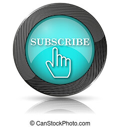Subscribe icon - Shiny glossy icon with white design on aqua...