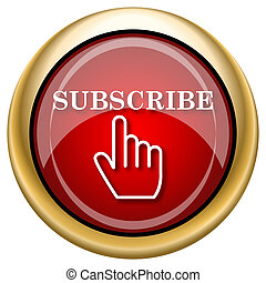 Subscribe icon - Shiny glossy icon with white design on red...