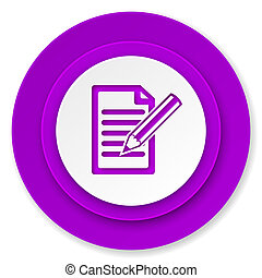 subscribe icon, violet button, write sign