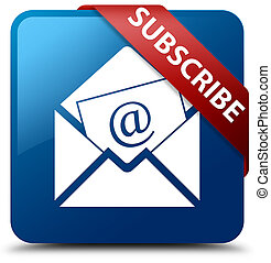 Subscribe (newsletter email icon) blue square button red ribbon in corner