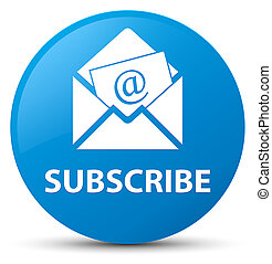 Subscribe (newsletter email icon) cyan blue round button