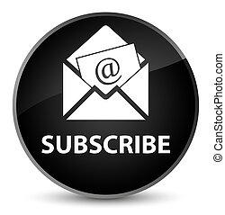 Subscribe (newsletter email icon) elegant black round button