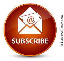 Subscribe (newsletter email icon) elegant brown round button