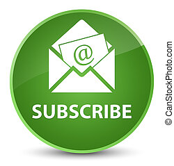 Subscribe (newsletter email icon) elegant soft green round button