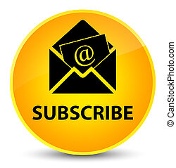 Subscribe (newsletter email icon) elegant yellow round button