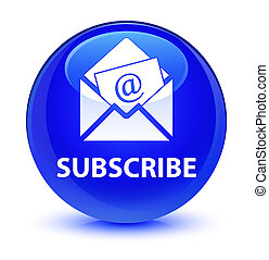 Subscribe (newsletter email icon) glassy blue round button