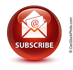 Subscribe (newsletter email icon) glassy brown round button