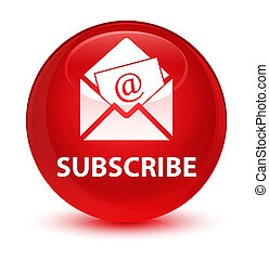 Subscribe (newsletter email icon) glassy red round button