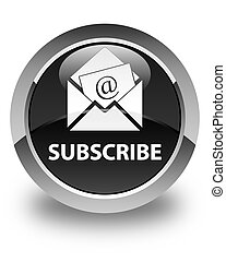 Subscribe (newsletter email icon) glossy black round button