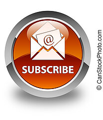 Subscribe (newsletter email icon) glossy brown round button