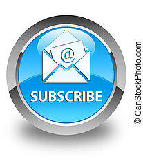 Subscribe (newsletter email icon) glossy cyan blue round button
