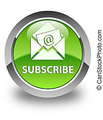 Subscribe (newsletter email icon) glossy green round button
