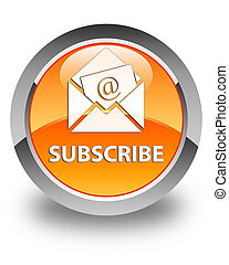 Subscribe (newsletter email icon) glossy orange round button