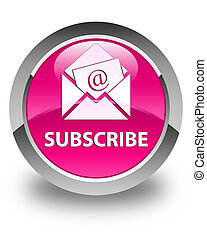 Subscribe (newsletter email icon) glossy pink round button