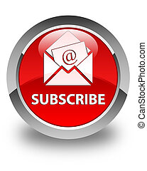 Subscribe (newsletter email icon) glossy red round button