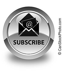 Subscribe (newsletter email icon) glossy white round button