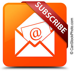 Subscribe (newsletter email icon) orange square button red ribbon in corner