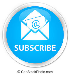 Subscribe (newsletter email icon) premium cyan blue round button