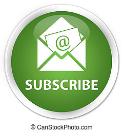 Subscribe (newsletter email icon) premium soft green round button