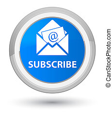 Subscribe (newsletter email icon) prime cyan blue round button