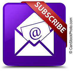 Subscribe (newsletter email icon) purple square button red ribbon in corner
