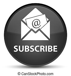 Subscribe (newsletter email icon) special black round button