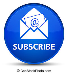 Subscribe (newsletter email icon) special blue round button