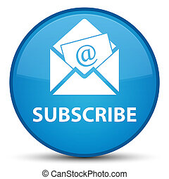 Subscribe (newsletter email icon) special cyan blue round button