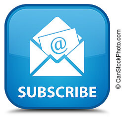 Subscribe (newsletter email icon) special cyan blue square button