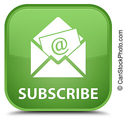 Subscribe (newsletter email icon) special soft green square button