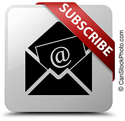 Subscribe (newsletter email icon) white square button red ribbon in corner